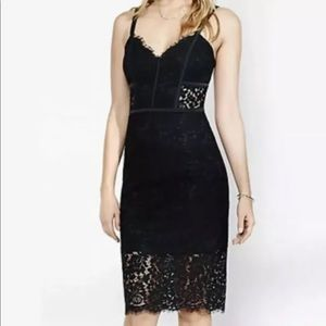 Express lace sheath dress black